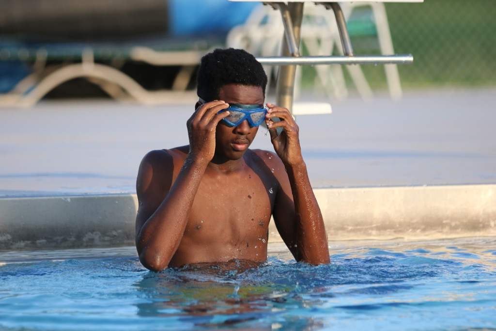 Land O' Lakes High School student Rufus in the pool during Special Olympics swimming practice.