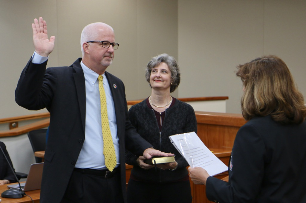 Superintendent Browning being sworn in for a second term as Pasco County Superintendent of Schools.