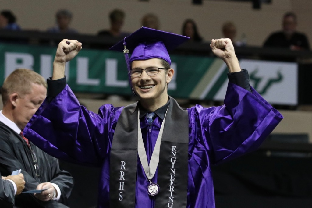 An excited River Ridge High School graduate.