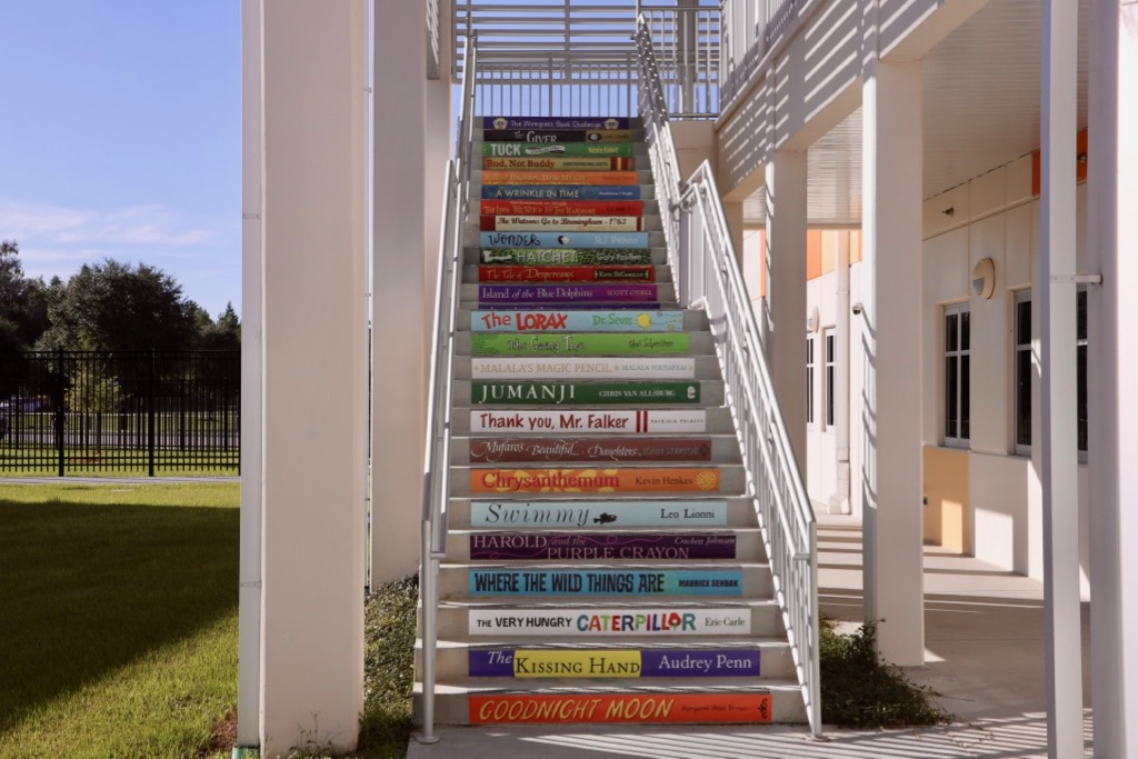 Take a look at these new stairs at Wiregrass Elementary promoting math, literacy, and character!