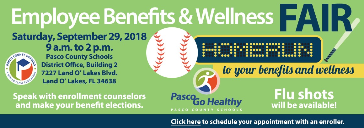 <p> 	Employee Benefits and Wellness FAIR, 9/29/18 from 9 a.m. - 2 p.m. District Office Bldg 2.&nbsp; Tap for more information.</p>
