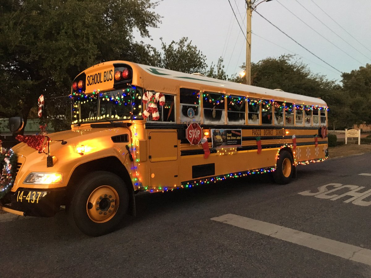 Transportation Services at the West Bus Garage staff voluntarily decorated  a propane school bus and participated in the New Port Richey Holiday Parade.